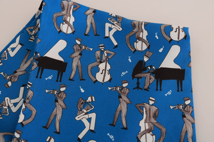 Blue Brown Silk Music Print Scarf