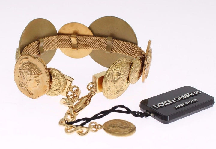 Gold Brass MONETE SICILY Coin Bracelet