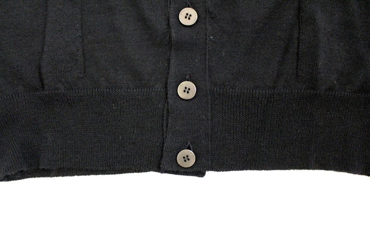 Black wool cardigan sweater