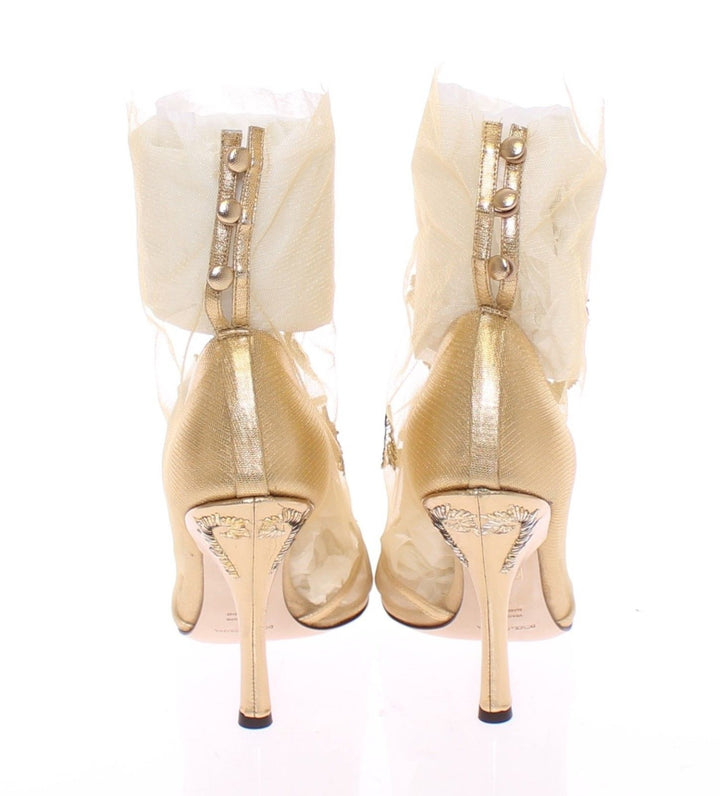 Gold Baroque Leather Pumps Booties Shoes