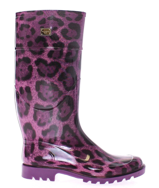 Purple Leopard Rubber Rain Boots