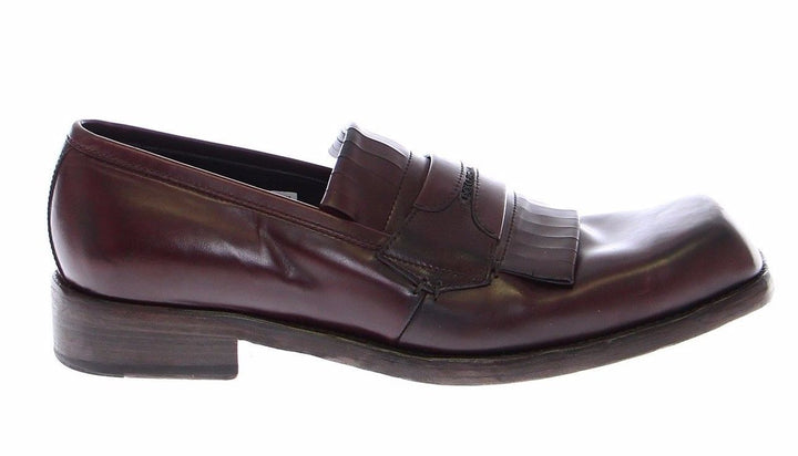 Bordeaux Leather Logo Loafers Shoes