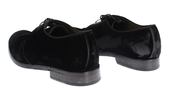 Black Velvet Vintage Look Laceup Shoes