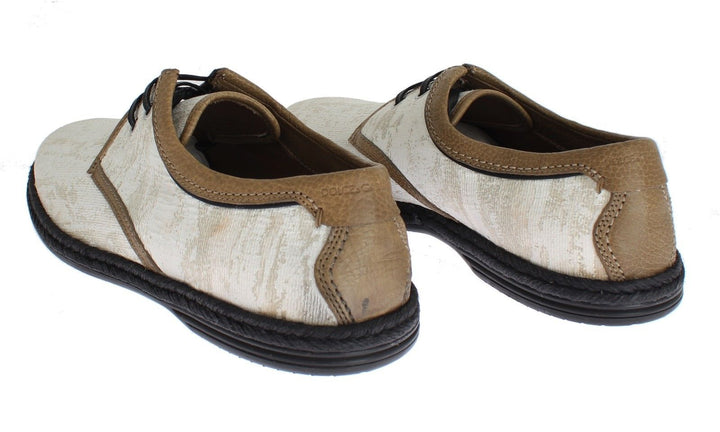 White Denim Brown Leather Casual Shoes