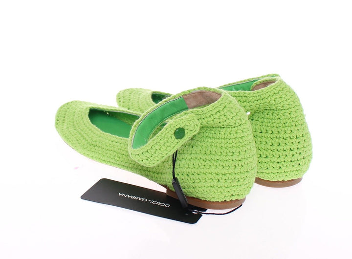 Green Cotton Knitted Ballet Flats Shoes