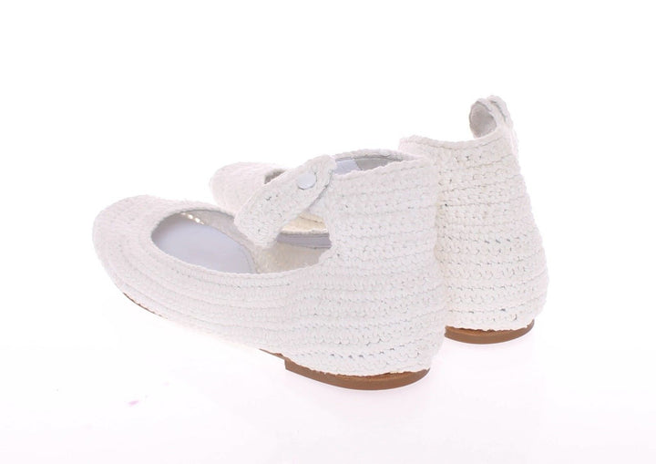 White Cotton Knitted Ballet Flats Shoes