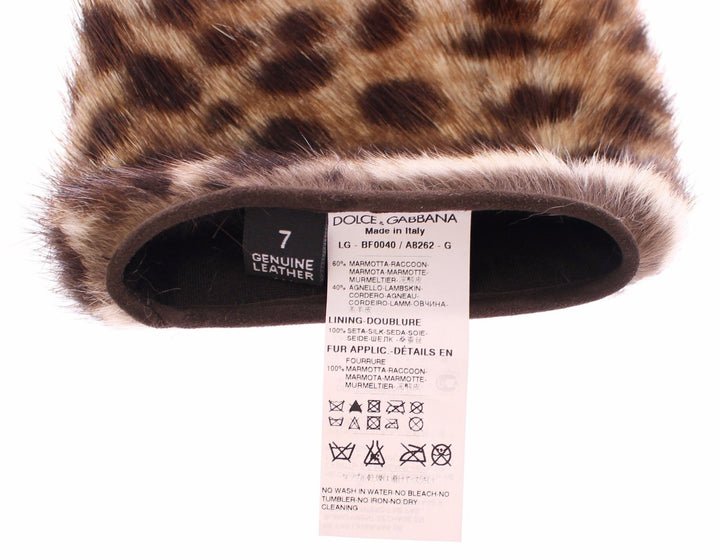 Brown Leather Leopard Raccoon Fur Elbow Gloves