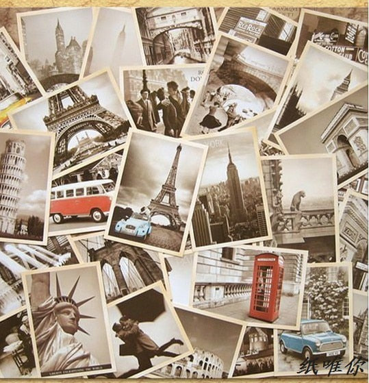 Carte Postale Retro 32 pcs architecture in europe cards collector retro nostalgia postcard