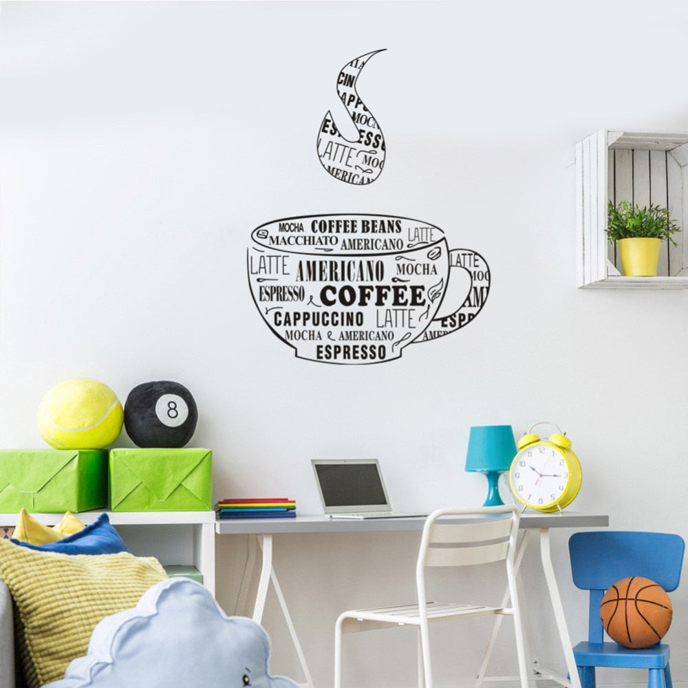 Creative Vinyl Wall Decal Coffee Cup Shop Words Kitchen Dining Room Decoration Art Stickers Bar