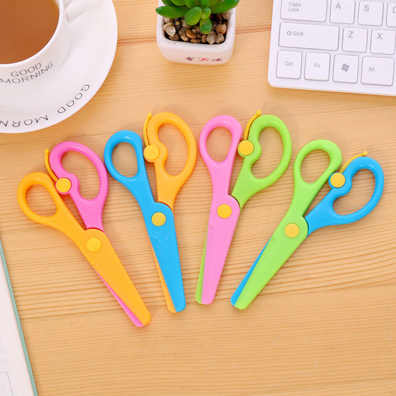 Cutting Supplies Cute Mini Safety Round Head Plastic Scissors Student Kids Paper Cutting Minions Supplies For Kindergarten School