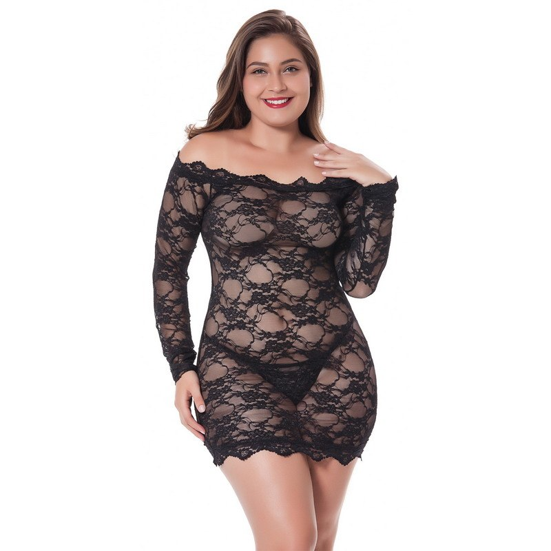 d2af453b41c ... Sexy Lingerie Lace See Through Babydolls Plus Size Costume Women Long  Sleeve Cold Shoulder Exotic Sleepwear ...