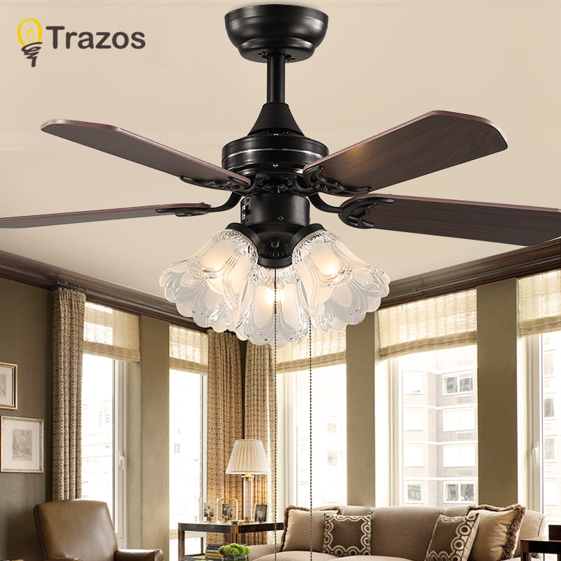 Trazo Black Vintage Ceiling Fan With Lights Remote Control