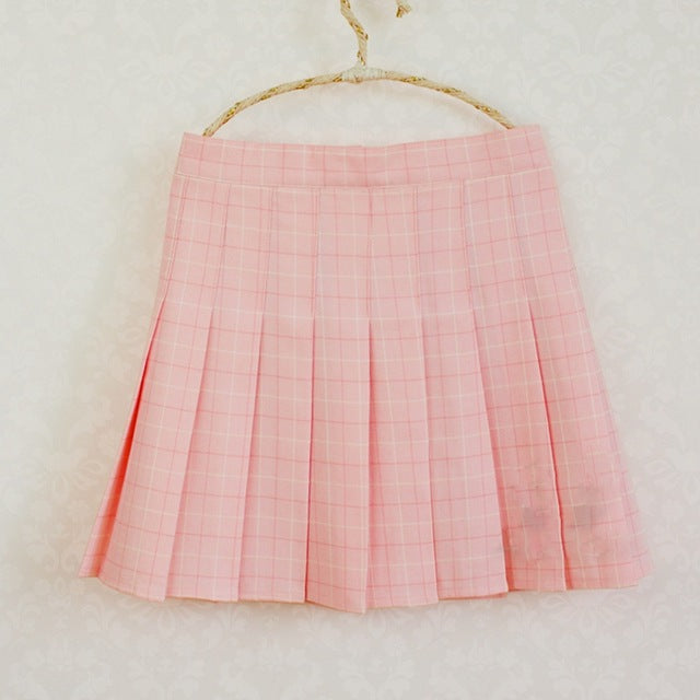 105addb186 ... Kawaii Girls Japanese Style Mini Saia High Waist Plaid Chest Pleated  Skirt Cute Lolita Mini Short ...