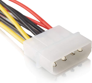 2 x 15 Pin zu 4 Pin Serial SATA | 18cm | Strom Adapter | Kupfer | Stromkabel Serial ATA