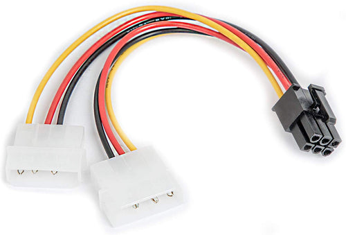6 Pin Stecker zu 2X Molex/IDE Buchse | 17,5cm | Adapter Stecker | Grafikarte PCI-Express | Strom-Adapter-Kabel | 2 mal 4 Polig zu 6 Polig | PCI-E Adapter-Kabel