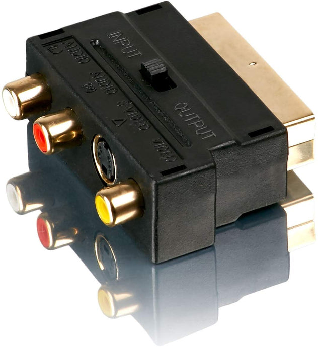 Scart Adapter | 2x Audio Cinch + 1x Video Cinch zu Scart + 1x S-Video| Line-Out / Line-In Umschalter |RCA Adapter | S-Video Chinch-Adapter Scart-Kabel Verteiler Y-Verteiler Umschalter AV Adapter Klink