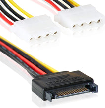 Laden Sie das Bild in den Galerie-Viewer, SATA 15pin zu 2X 4 Pin MOLEX IDE | Y-Adapter Stromanschluss | 15cm | Splitter | Power 15-pin-2x 4-pin/Bu
