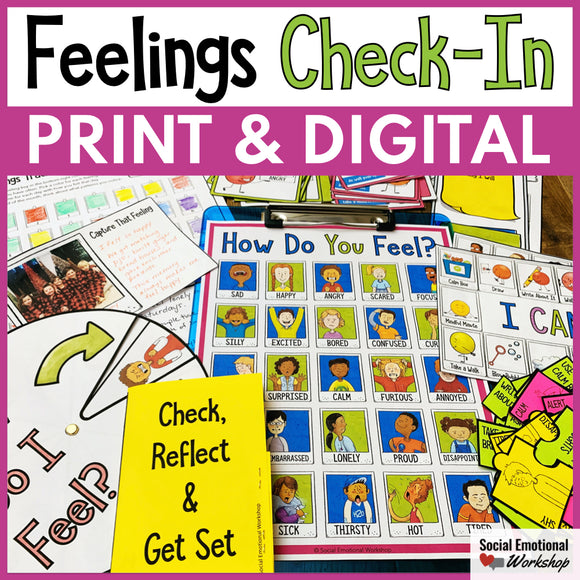 Feelings Check-In and Feelings Posters for Counseling and SEL