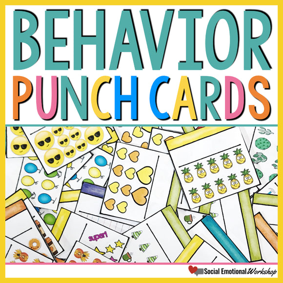 Editable Behavior Punch Cards for Classroom Management - Social Emotional Workshop