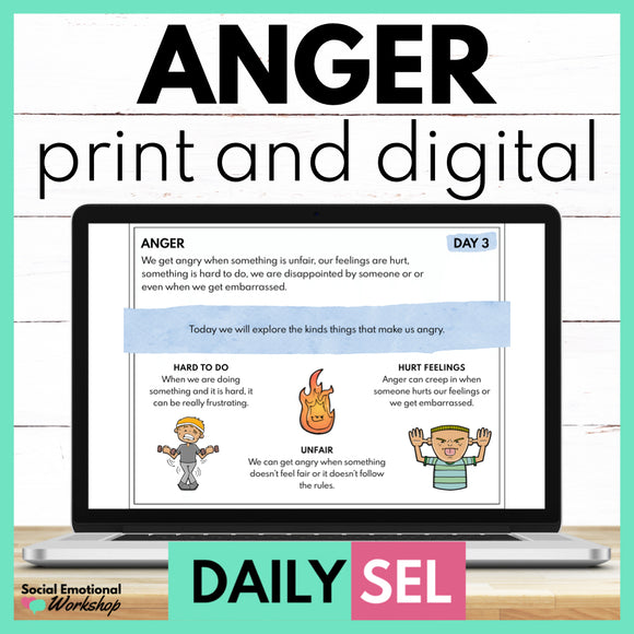 Anger Social Emotional Learning Activities - SEL for Distance Learning