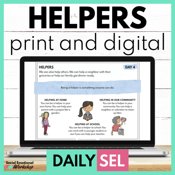 Helpers Social Emotional Learning Activities - SEL for Distance Learning - Social Emotional Workshop