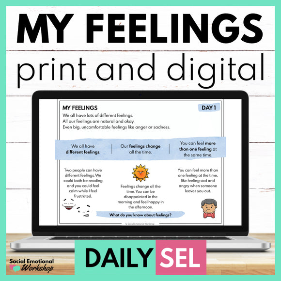 My Feelings Social Emotional Learning Activities - SEL for Distance Learning - Social Emotional Workshop