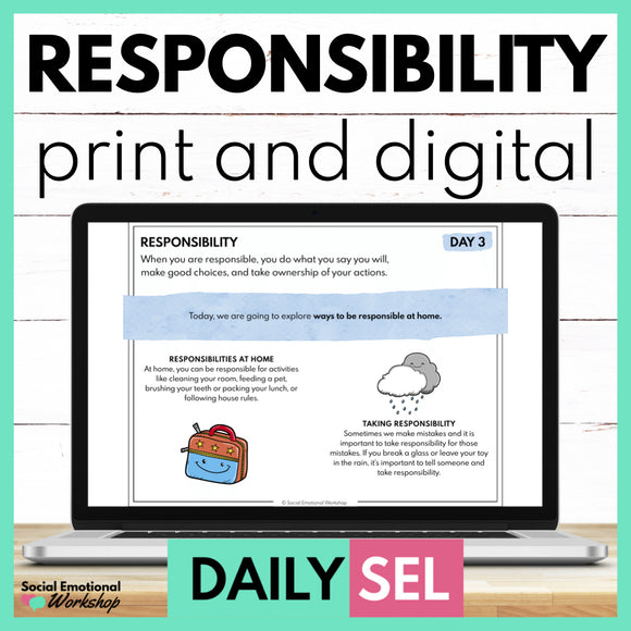 Responsibility Social Emotional Learning Activities - SEL for Distance Learning
