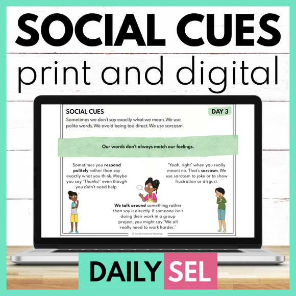 Social Cues - SEL Activities for Distance Learning - Social Emotional Workshop