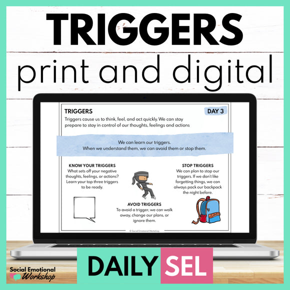 Triggers Social Emotional Learning Activities - SEL for Distance Learning