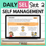 Daily SEL Activities for Self Management - Set 2 - SEL Distance Learning - Social Emotional Workshop