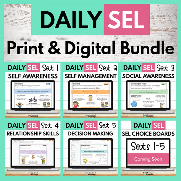 Daily SEL Activities for the Whole Year & Distance Learning - Growing Bundle - Social Emotional Workshop