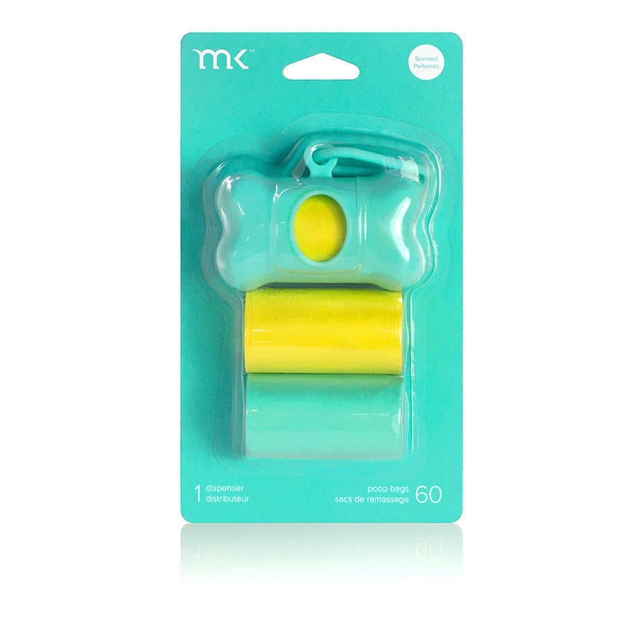 Poop Bag Set - Turquoise & Yellow