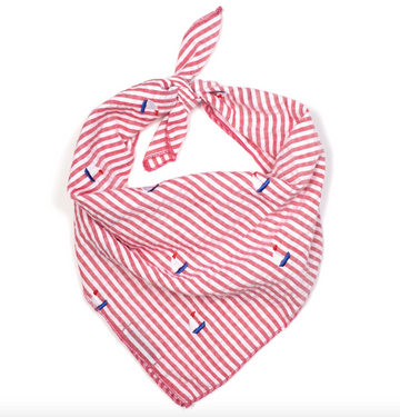 Red Stripe Sailboat Tie Bandana