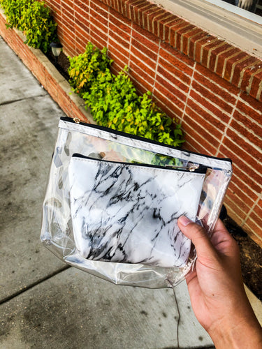 Marble Cosmetic Bag Set