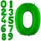 Neon green foiled helium balloon numbers 102 cm