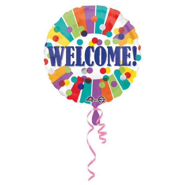 "ბუშტი Welcome 43 სმ/Standard ""Welcome Dots & Stripes"" Foil Balloon 43 cm"