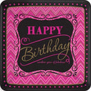 Rectangular plates paper crimson-black Happy Birthday 25.4 x 25.4 cm 8 pcs