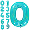 Holographic turquoise foiled balloon numbers 102 cm