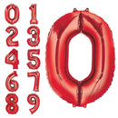 Red balloon numbers inflated with helium