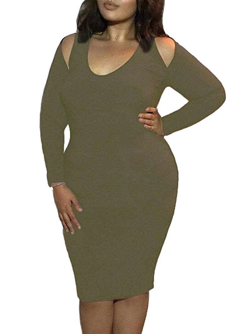 Women\'s Winter Plus Size Strapless Long-Sleeved Bodycon Stretch Club ...