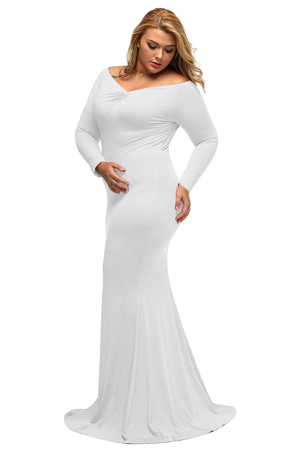 Women\'s Plus Size Off Shoulder Long Sleeve Formal Gown