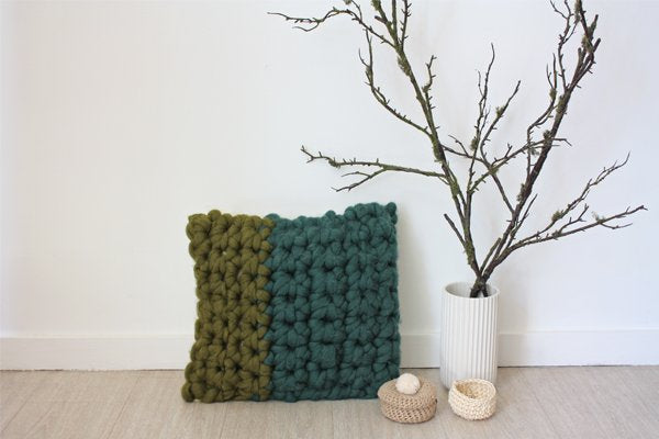 Chunky Textures Pillowcase Greens