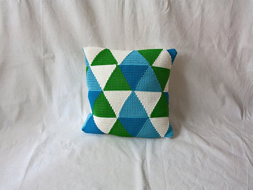 Pillow Geométrica Triangles Blues
