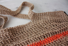 "Load image into Gallery viewer, Crochet Beach Bag - "" Stripes"" - Orange"
