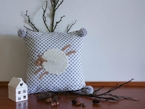 Pillowcase Woodland Friends - Sheep Grey