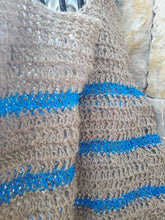 "Load image into Gallery viewer, Crochet Beach Bag - "" Stripes"" - Blue"