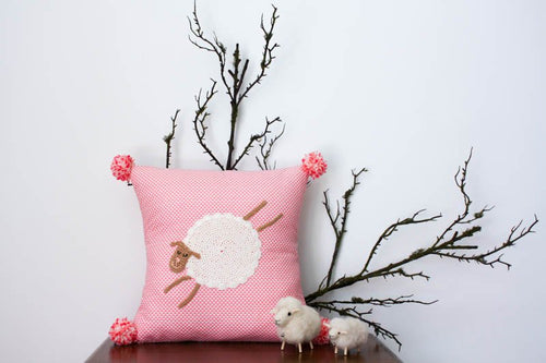 Pillowcase Woodland Friends - Sheep Bright Pink