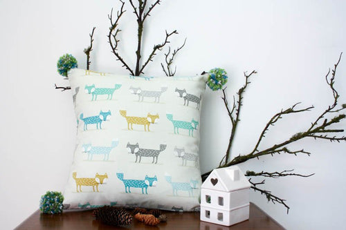 Pillowcase Woodland Friends - Foxes Green and Grey