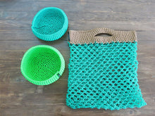 Load image into Gallery viewer, Green Crochet Market Bag