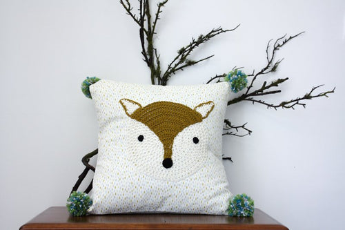 Pillowcase Woodland Friends - Fox Moss Green